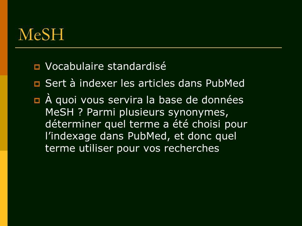 Vocabulaire standardisé Sert à indexer les articles dans PubMed À quoi vous servira la base de données MeSH ? Parmi plusieurs synonymes, déterminer qu