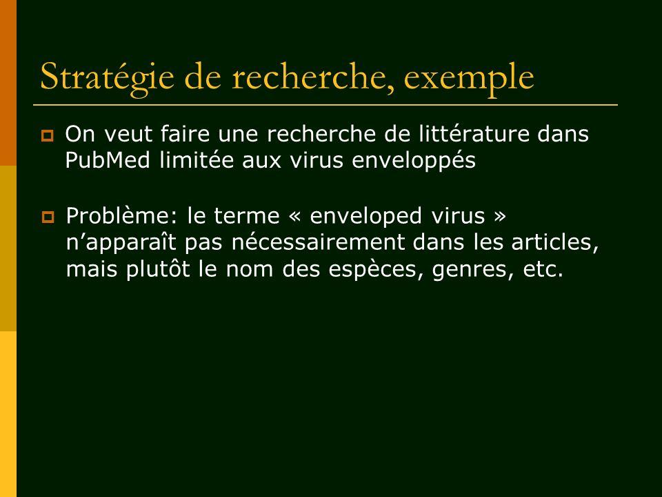 Stratégie de recherche, exemple On veut faire une recherche de littérature dans PubMed limitée aux virus enveloppés Problème: le terme « enveloped vir