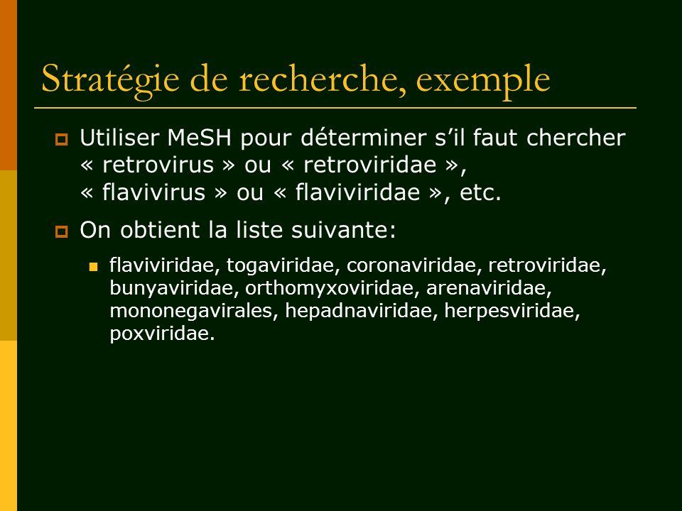 Stratégie de recherche, exemple Utiliser MeSH pour déterminer sil faut chercher « retrovirus » ou « retroviridae », « flavivirus » ou « flaviviridae »