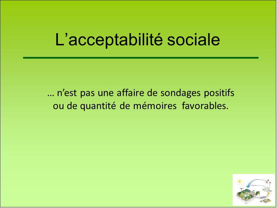Lacceptabilité sociale … nest pas une affaire de sondages positifs ou de quantité de mémoires favorables.