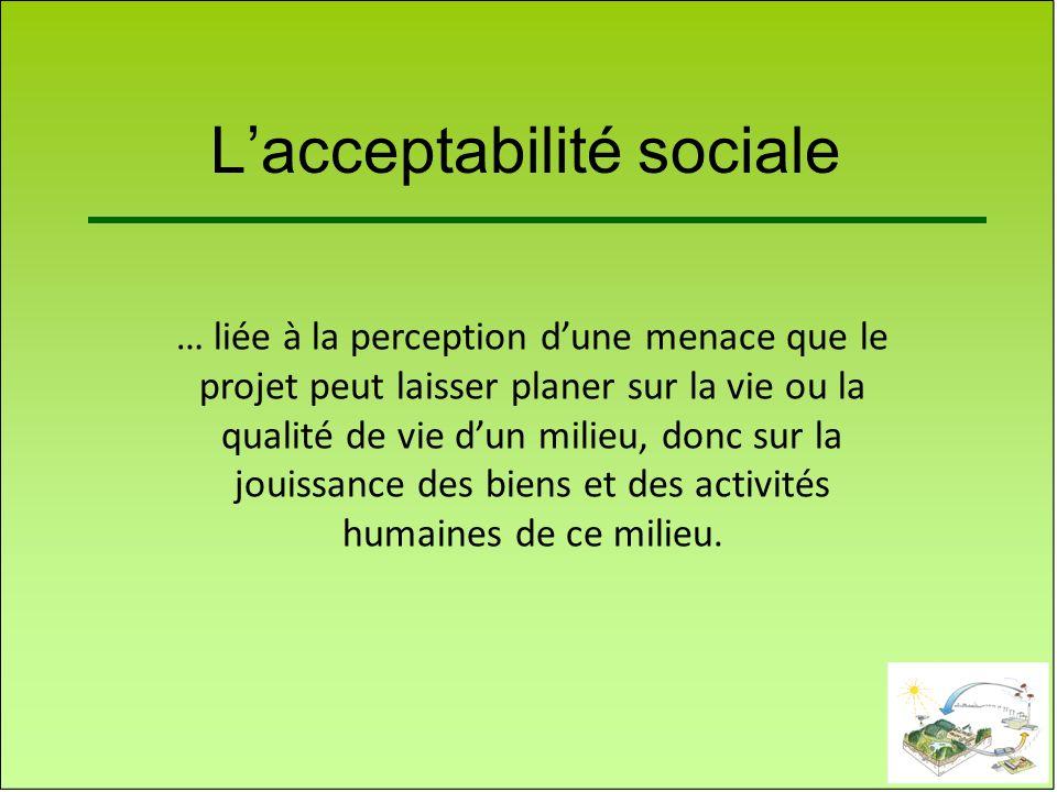 Lacceptabilité sociale … liée à la perception dune menace que le projet peut laisser planer sur la vie ou la qualité de vie dun milieu, donc sur la jo