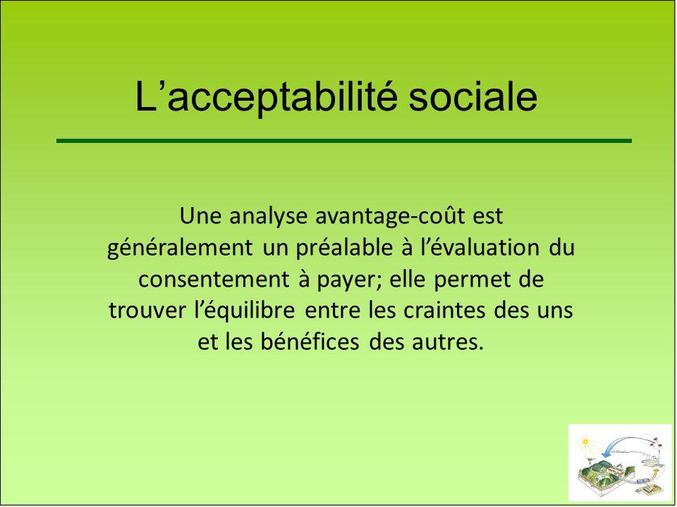 Lacceptabilité sociale Une analyse avantage-coût est généralement un préalable à lévaluation du consentement à payer; elle permet de trouver léquilibr