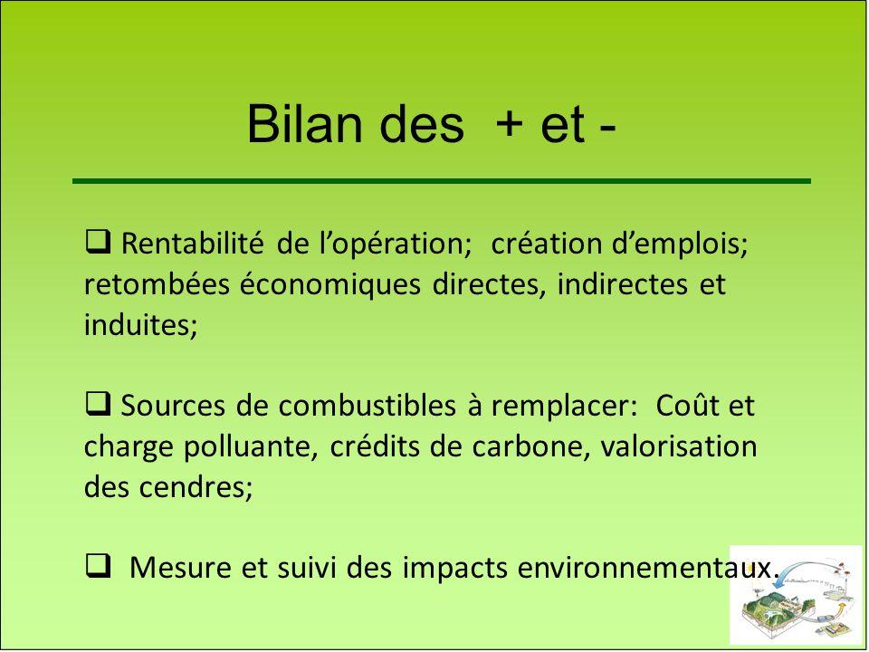 Bilan des + et - Rentabilité de lopération; création demplois; retombées économiques directes, indirectes et induites; Sources de combustibles à rempl