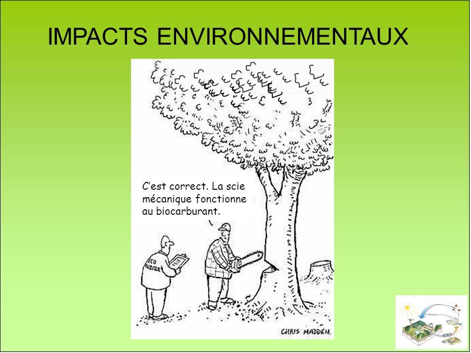 IMPACTS ENVIRONNEMENTAUX Cest correct. La scie mécanique fonctionne au biocarburant.