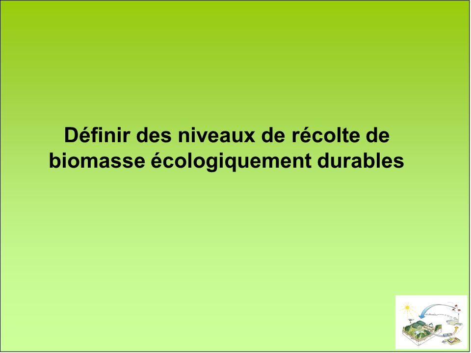 Définir des niveaux de récolte de biomasse écologiquement durables