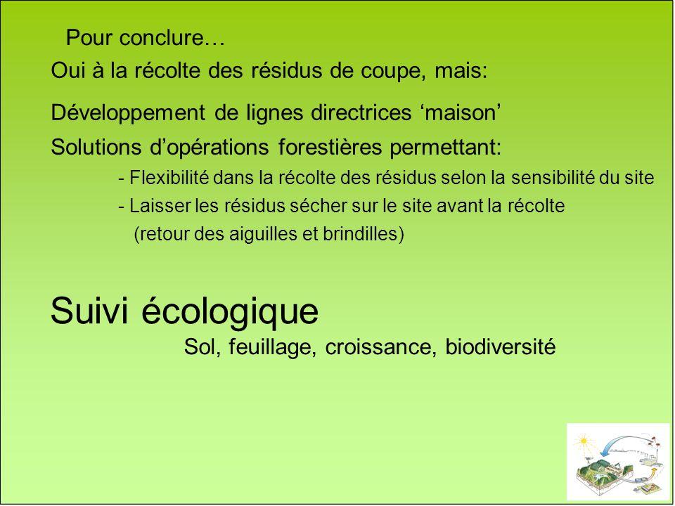 Solutions dopérations forestières permettant: - Flexibilité dans la récolte des résidus selon la sensibilité du site - Laisser les résidus sécher sur