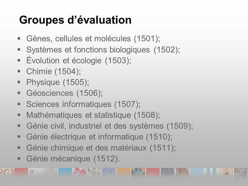 Groupes dévaluation Gènes, cellules et molécules (1501); Systèmes et fonctions biologiques (1502); Évolution et écologie (1503); Chimie (1504); Physique (1505); Géosciences (1506); Sciences informatiques (1507); Mathématiques et statistique (1508); Génie civil, industriel et des systèmes (1509); Génie électrique et informatique (1510); Génie chimique et des matériaux (1511); Génie mécanique (1512).