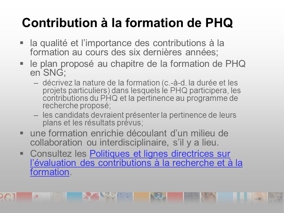 Contribution à la formation de PHQ la qualité et limportance des contributions à la formation au cours des six dernières années; le plan proposé au chapitre de la formation de PHQ en SNG; –décrivez la nature de la formation (c.-à-d.
