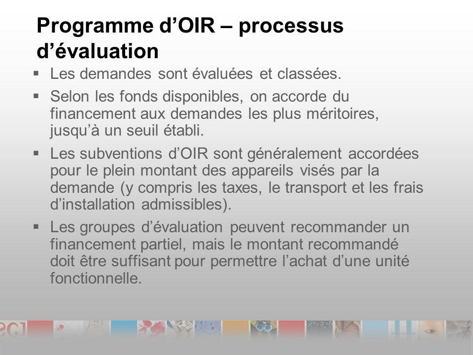 Programme dOIR – processus dévaluation Les demandes sont évaluées et classées.