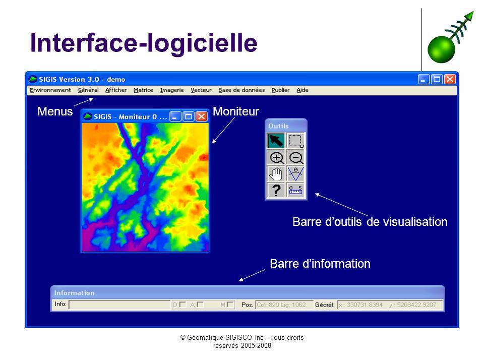 © Géomatique SIGISCO Inc - Tous droits réservés 2005-2008 Interface-logicielle Barre doutils de visualisation Moniteur Barre dinformation Menus