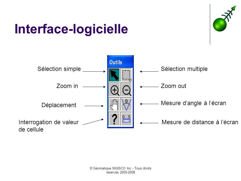© Géomatique SIGISCO Inc - Tous droits réservés 2005-2008 Interface-logicielle Sélection simpleSélection multiple Zoom inZoom out Mesure dangle à lécran Déplacement Interrogation de valeur de cellule Mesure de distance à lécran