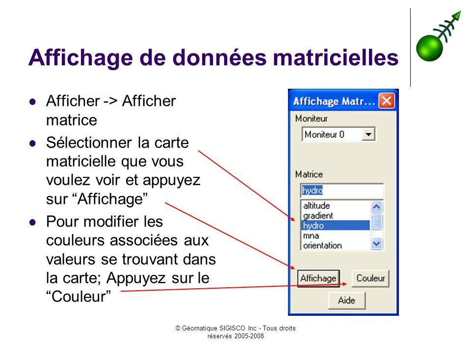 © Géomatique SIGISCO Inc - Tous droits réservés 2005-2008 Affichage de données matricielles Afficher -> Afficher matrice Sélectionner la carte matrici