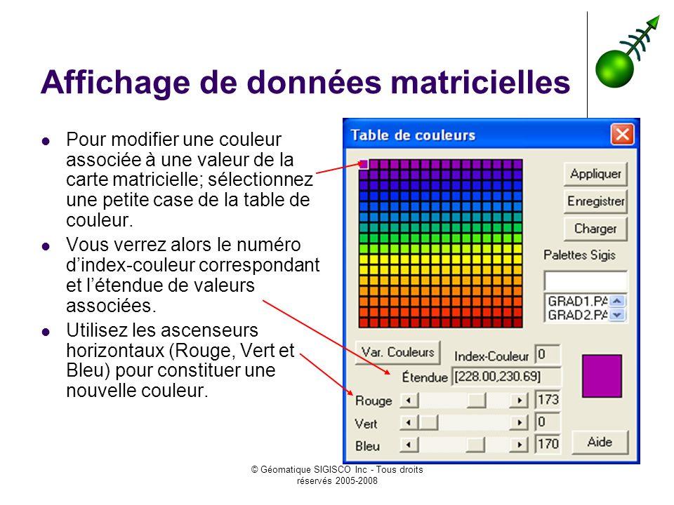 © Géomatique SIGISCO Inc - Tous droits réservés 2005-2008 Affichage de données matricielles Pour modifier une couleur associée à une valeur de la carte matricielle; sélectionnez une petite case de la table de couleur.