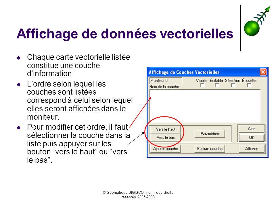 © Géomatique SIGISCO Inc - Tous droits réservés 2005-2008 Affichage de données vectorielles Chaque carte vectorielle listée constitue une couche dinformation.