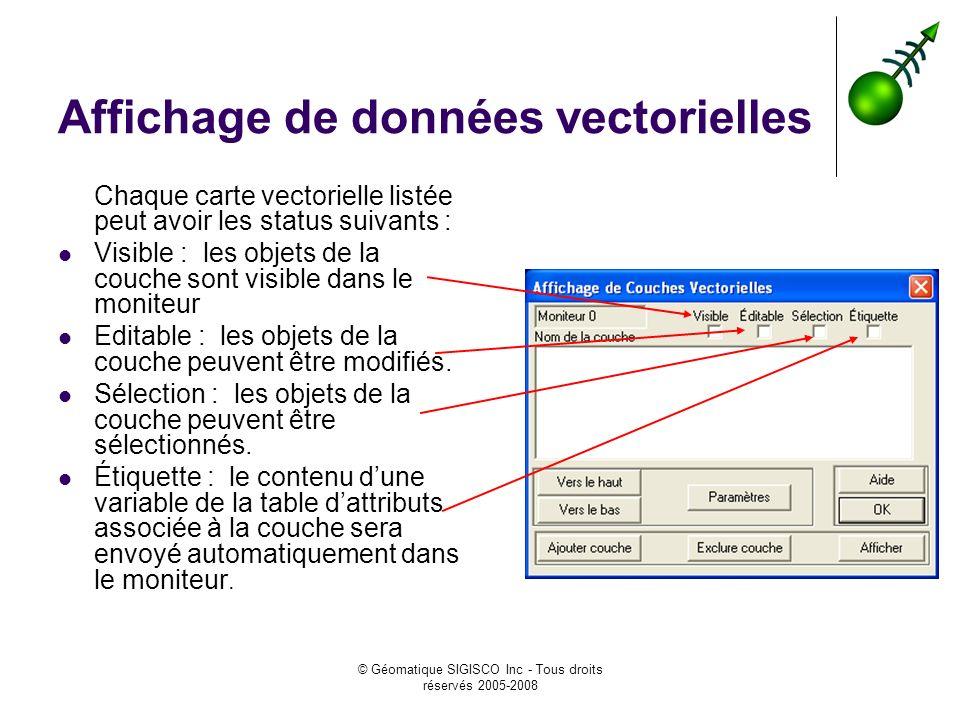 © Géomatique SIGISCO Inc - Tous droits réservés 2005-2008 Affichage de données vectorielles Chaque carte vectorielle listée peut avoir les status suivants : Visible : les objets de la couche sont visible dans le moniteur Editable : les objets de la couche peuvent être modifiés.