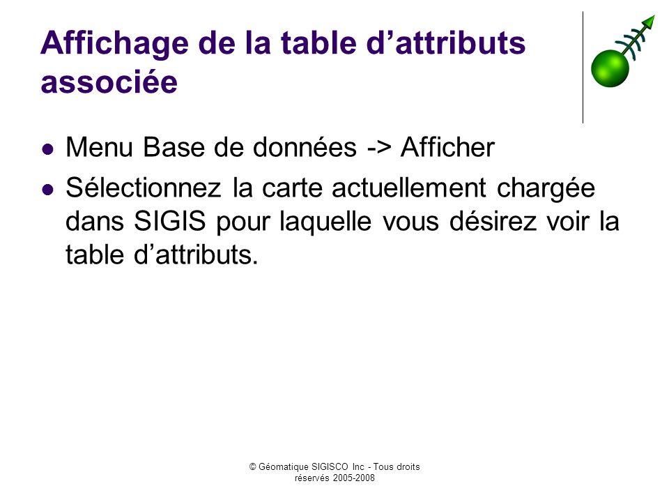 © Géomatique SIGISCO Inc - Tous droits réservés 2005-2008 Affichage de la table dattributs associée Menu Base de données -> Afficher Sélectionnez la c