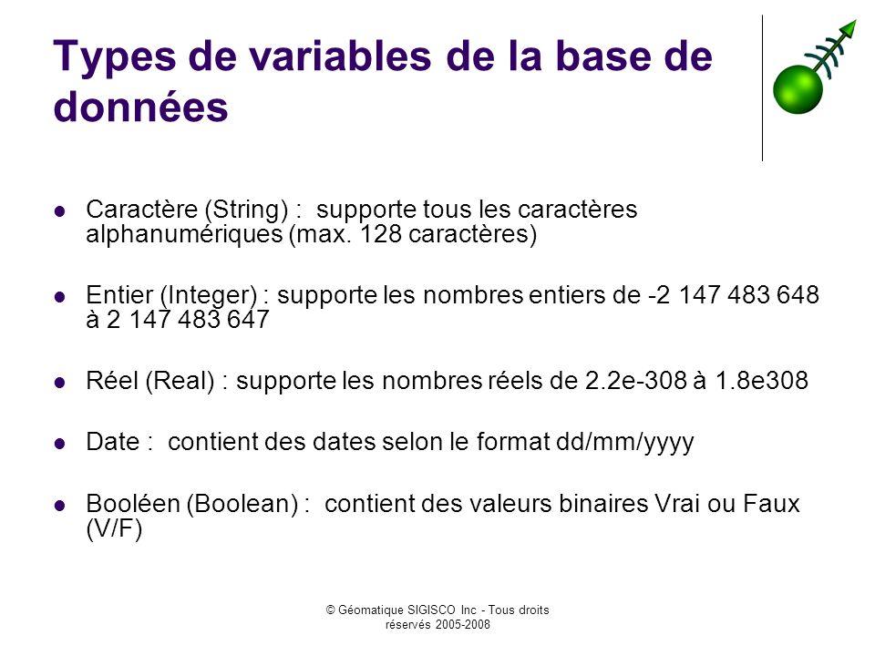 © Géomatique SIGISCO Inc - Tous droits réservés 2005-2008 Types de variables de la base de données Caractère (String) : supporte tous les caractères a