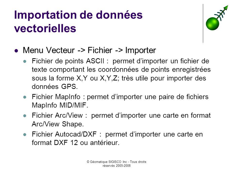 © Géomatique SIGISCO Inc - Tous droits réservés 2005-2008 Importation de données vectorielles Menu Vecteur -> Fichier -> Importer Fichier de points AS