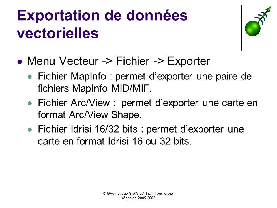© Géomatique SIGISCO Inc - Tous droits réservés 2005-2008 Exportation de données vectorielles Menu Vecteur -> Fichier -> Exporter Fichier MapInfo : permet dexporter une paire de fichiers MapInfo MID/MIF.