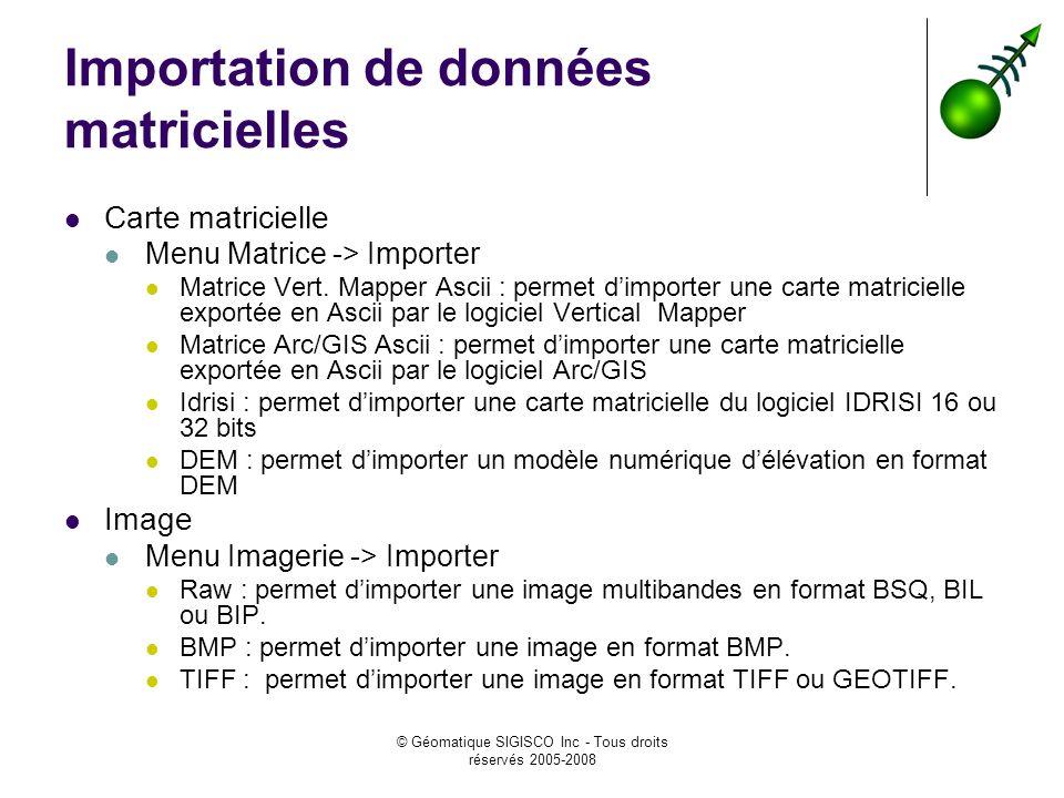 © Géomatique SIGISCO Inc - Tous droits réservés 2005-2008 Importation de données matricielles Carte matricielle Menu Matrice -> Importer Matrice Vert.