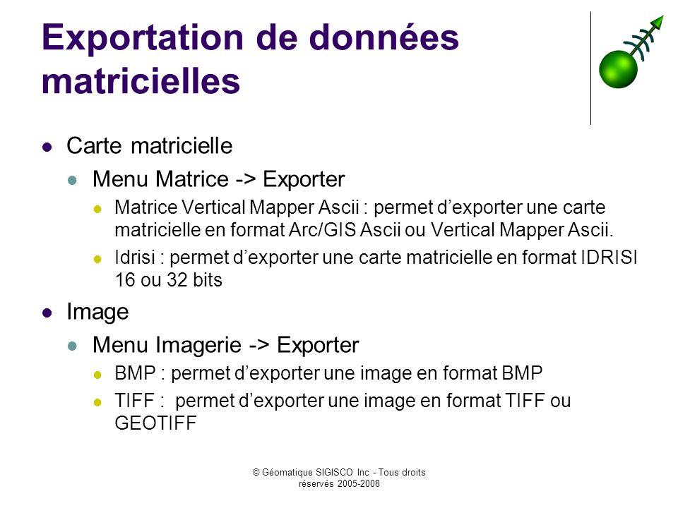© Géomatique SIGISCO Inc - Tous droits réservés 2005-2008 Exportation de données matricielles Carte matricielle Menu Matrice -> Exporter Matrice Vertical Mapper Ascii : permet dexporter une carte matricielle en format Arc/GIS Ascii ou Vertical Mapper Ascii.