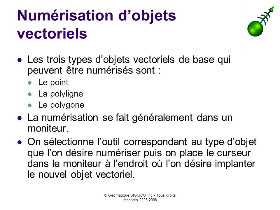 © Géomatique SIGISCO Inc - Tous droits réservés 2005-2008 Numérisation dobjets vectoriels Les trois types dobjets vectoriels de base qui peuvent être