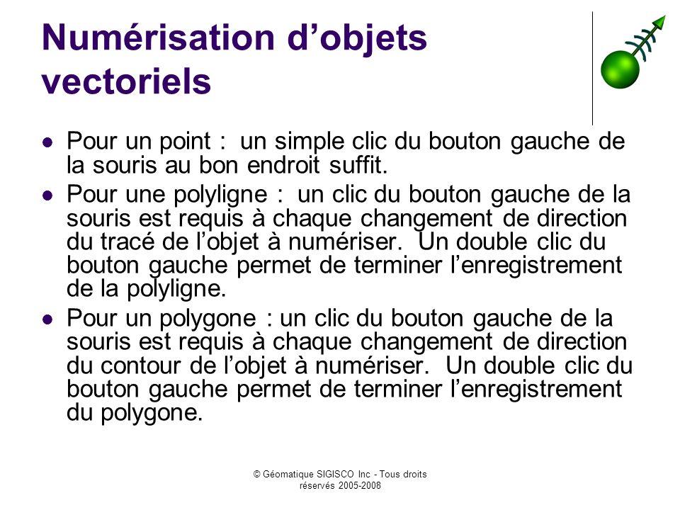 © Géomatique SIGISCO Inc - Tous droits réservés 2005-2008 Numérisation dobjets vectoriels Pour un point : un simple clic du bouton gauche de la souris au bon endroit suffit.