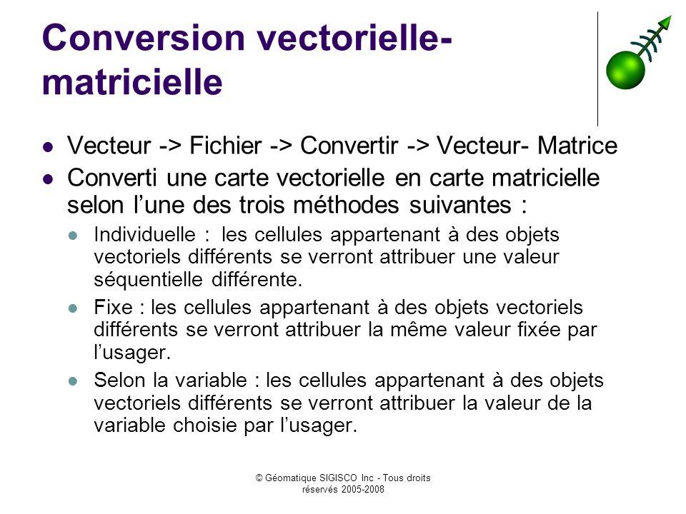 © Géomatique SIGISCO Inc - Tous droits réservés 2005-2008 Conversion vectorielle- matricielle Vecteur -> Fichier -> Convertir -> Vecteur- Matrice Conv