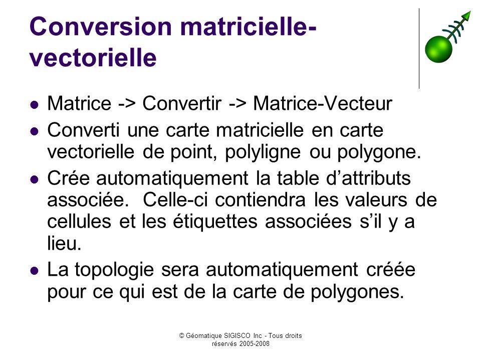 © Géomatique SIGISCO Inc - Tous droits réservés 2005-2008 Conversion matricielle- vectorielle Matrice -> Convertir -> Matrice-Vecteur Converti une carte matricielle en carte vectorielle de point, polyligne ou polygone.