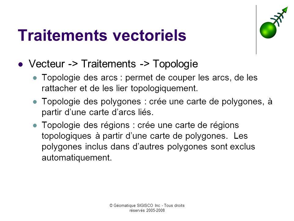 © Géomatique SIGISCO Inc - Tous droits réservés 2005-2008 Traitements vectoriels Vecteur -> Traitements -> Topologie Topologie des arcs : permet de couper les arcs, de les rattacher et de les lier topologiquement.