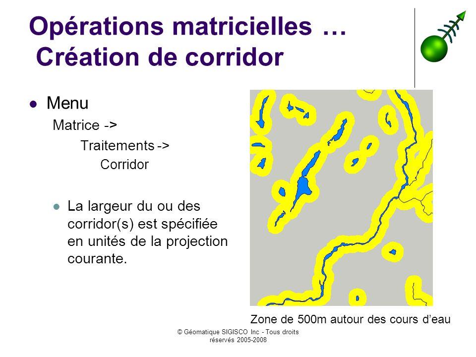 © Géomatique SIGISCO Inc - Tous droits réservés 2005-2008 Opérations matricielles … Création de corridor Menu Matrice -> Traitements -> Corridor La largeur du ou des corridor(s) est spécifiée en unités de la projection courante.