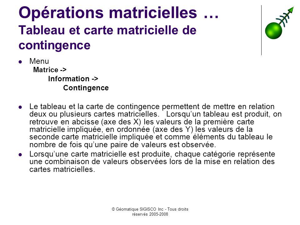 © Géomatique SIGISCO Inc - Tous droits réservés 2005-2008 Opérations matricielles … Tableau et carte matricielle de contingence Menu Matrice -> Information -> Contingence Le tableau et la carte de contingence permettent de mettre en relation deux ou plusieurs cartes matricielles.