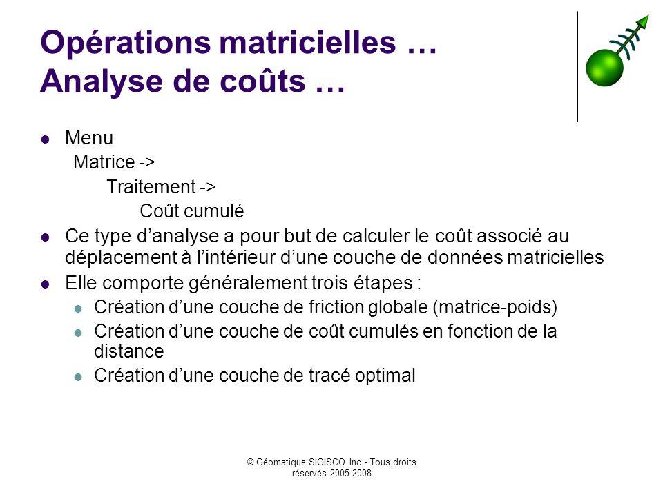 © Géomatique SIGISCO Inc - Tous droits réservés 2005-2008 Opérations matricielles … Analyse de coûts … Menu Matrice -> Traitement -> Coût cumulé Ce ty