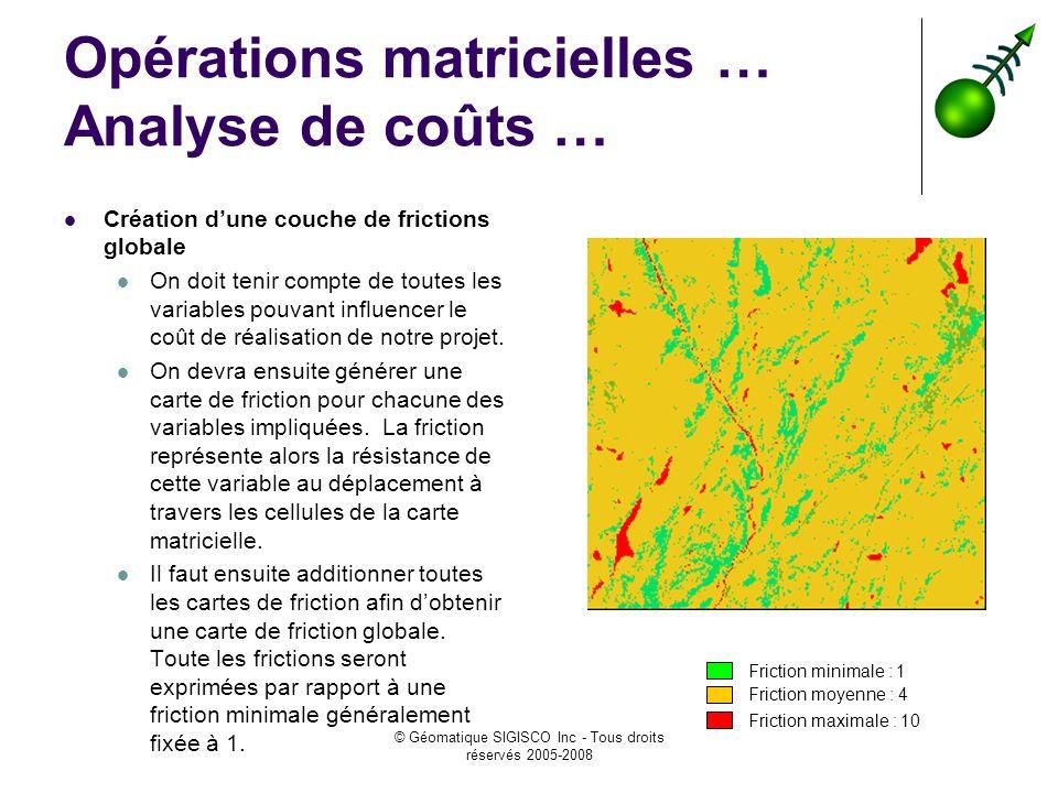 © Géomatique SIGISCO Inc - Tous droits réservés 2005-2008 Opérations matricielles … Analyse de coûts … Création dune couche de frictions globale On doit tenir compte de toutes les variables pouvant influencer le coût de réalisation de notre projet.