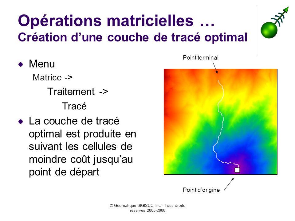© Géomatique SIGISCO Inc - Tous droits réservés 2005-2008 Opérations matricielles … Création dune couche de tracé optimal Menu Matrice -> Traitement -