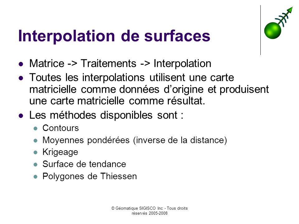 © Géomatique SIGISCO Inc - Tous droits réservés 2005-2008 Interpolation de surfaces Matrice -> Traitements -> Interpolation Toutes les interpolations utilisent une carte matricielle comme données dorigine et produisent une carte matricielle comme résultat.