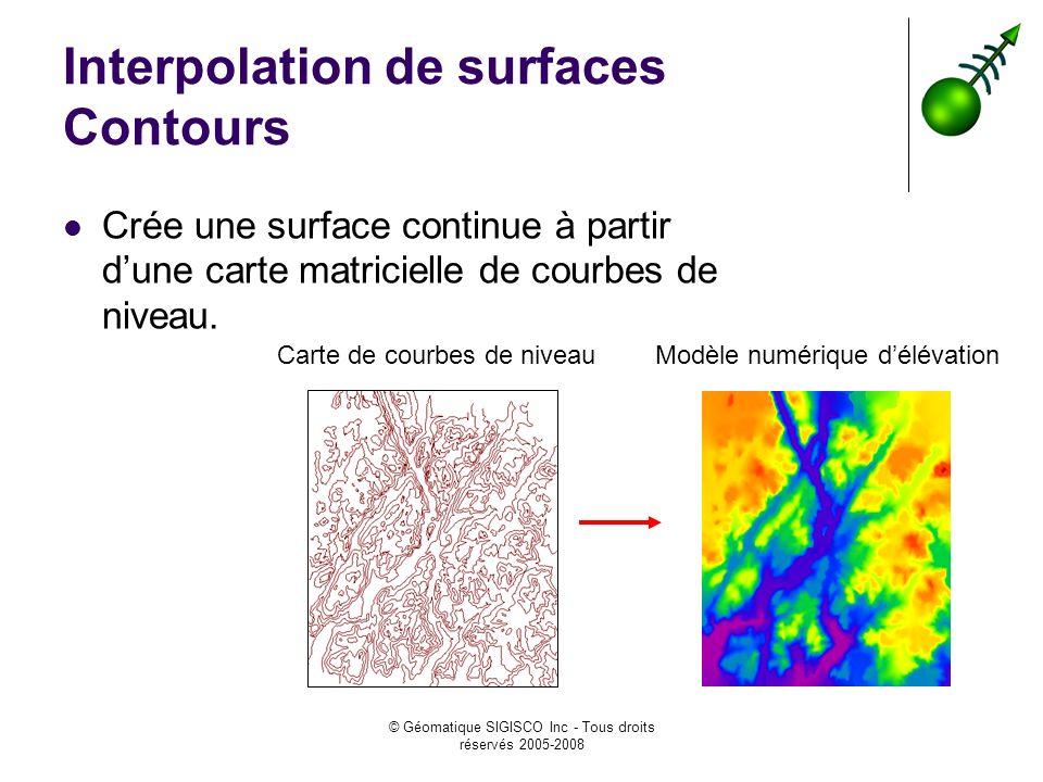 © Géomatique SIGISCO Inc - Tous droits réservés 2005-2008 Interpolation de surfaces Contours Crée une surface continue à partir dune carte matricielle de courbes de niveau.