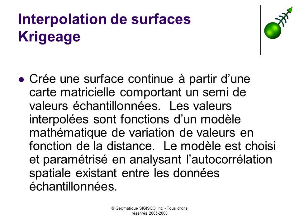© Géomatique SIGISCO Inc - Tous droits réservés 2005-2008 Interpolation de surfaces Krigeage Crée une surface continue à partir dune carte matricielle comportant un semi de valeurs échantillonnées.