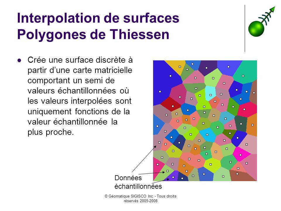 © Géomatique SIGISCO Inc - Tous droits réservés 2005-2008 Interpolation de surfaces Polygones de Thiessen Crée une surface discrète à partir dune carte matricielle comportant un semi de valeurs échantillonnées où les valeurs interpolées sont uniquement fonctions de la valeur échantillonnée la plus proche.