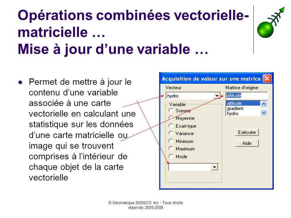 © Géomatique SIGISCO Inc - Tous droits réservés 2005-2008 Opérations combinées vectorielle- matricielle … Mise à jour dune variable … Permet de mettre