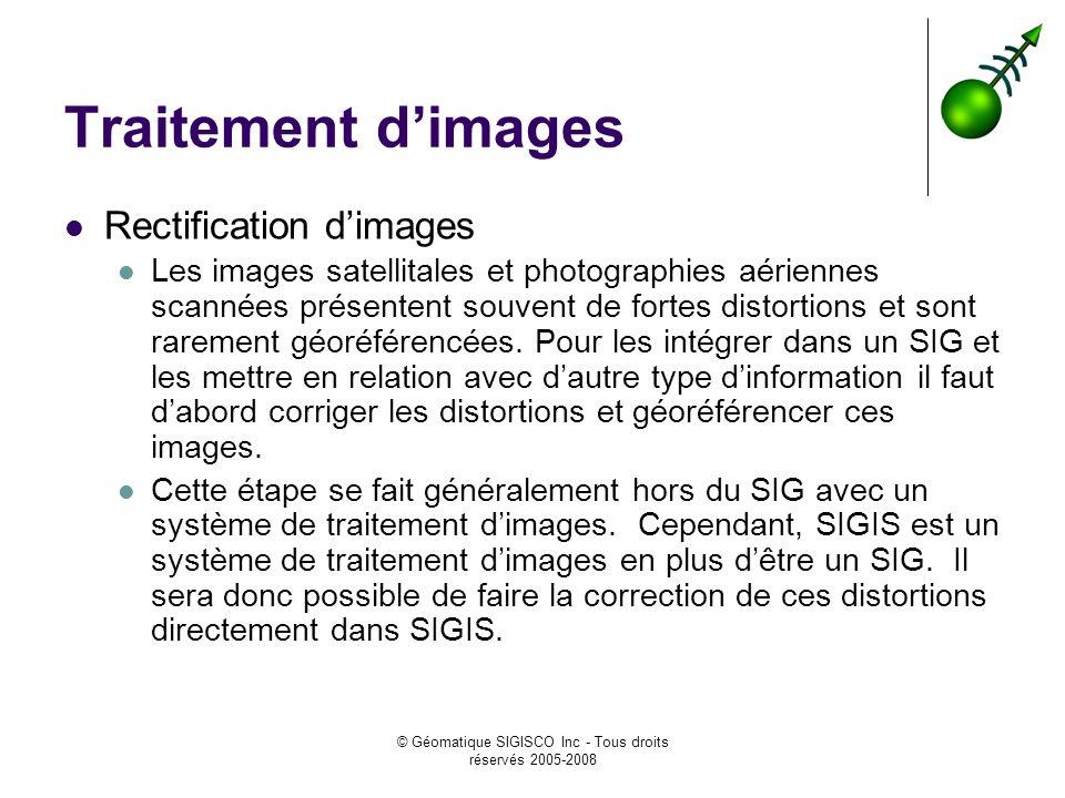 © Géomatique SIGISCO Inc - Tous droits réservés 2005-2008 Traitement dimages Rectification dimages Les images satellitales et photographies aériennes