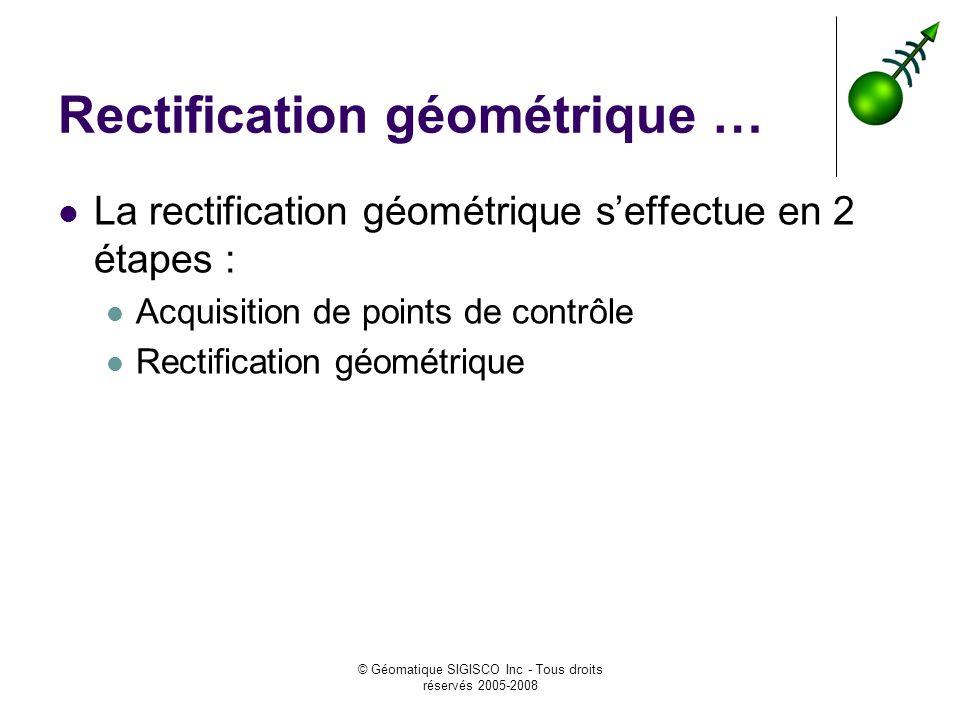 © Géomatique SIGISCO Inc - Tous droits réservés 2005-2008 Rectification géométrique … La rectification géométrique seffectue en 2 étapes : Acquisition de points de contrôle Rectification géométrique