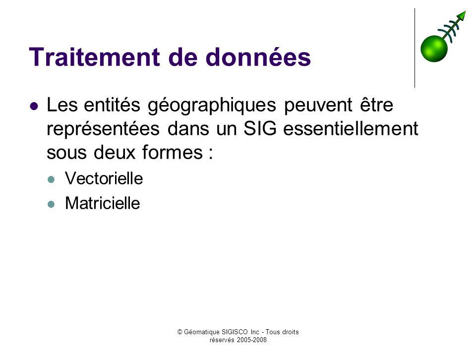 © Géomatique SIGISCO Inc - Tous droits réservés 2005-2008 Traitement de données Les entités géographiques peuvent être représentées dans un SIG essentiellement sous deux formes : Vectorielle Matricielle