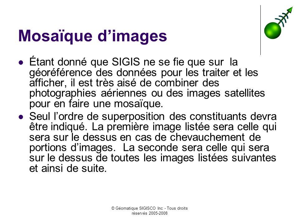 © Géomatique SIGISCO Inc - Tous droits réservés 2005-2008 Mosaïque dimages Étant donné que SIGIS ne se fie que sur la géoréférence des données pour le