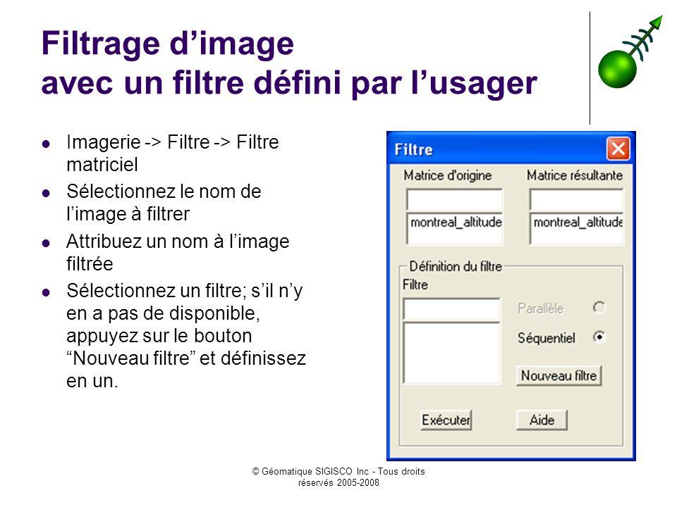 © Géomatique SIGISCO Inc - Tous droits réservés 2005-2008 Filtrage dimage avec un filtre défini par lusager Imagerie -> Filtre -> Filtre matriciel Sélectionnez le nom de limage à filtrer Attribuez un nom à limage filtrée Sélectionnez un filtre; sil ny en a pas de disponible, appuyez sur le bouton Nouveau filtre et définissez en un.