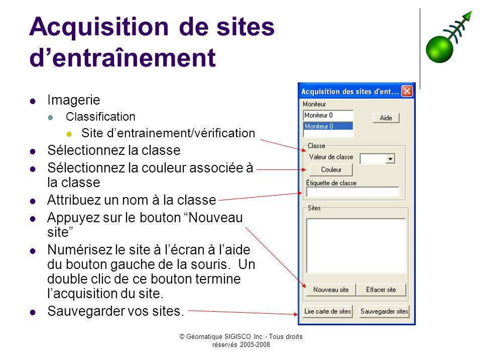 © Géomatique SIGISCO Inc - Tous droits réservés 2005-2008 Acquisition de sites dentraînement Imagerie Classification Site dentrainement/vérification S