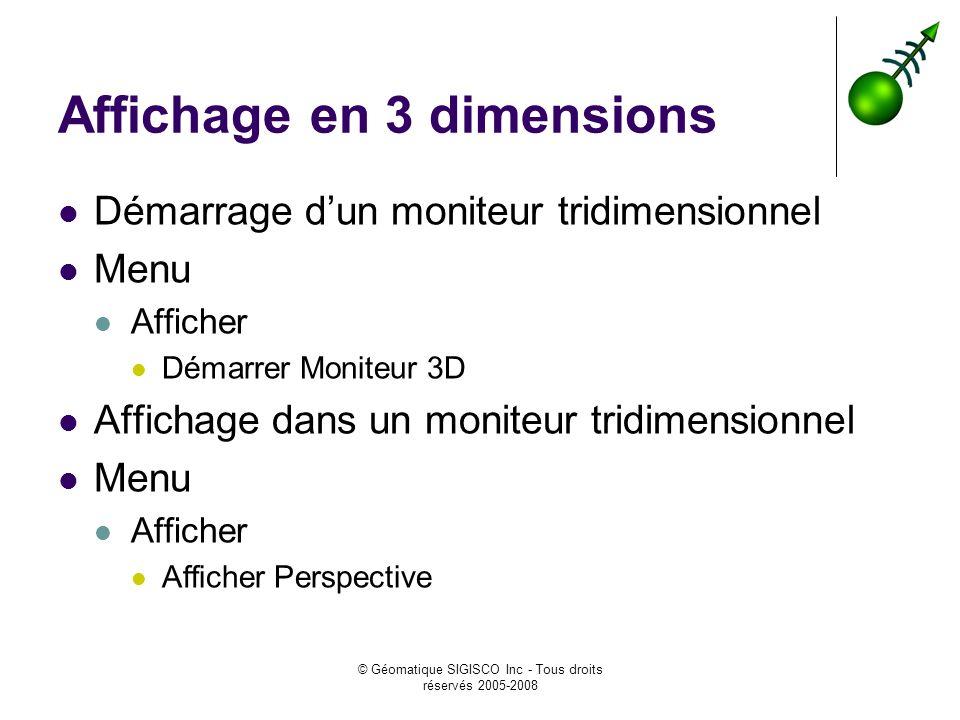 © Géomatique SIGISCO Inc - Tous droits réservés 2005-2008 Affichage en 3 dimensions Démarrage dun moniteur tridimensionnel Menu Afficher Démarrer Moniteur 3D Affichage dans un moniteur tridimensionnel Menu Afficher Afficher Perspective