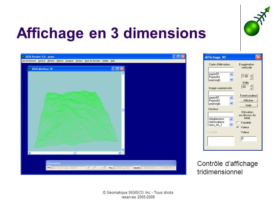 © Géomatique SIGISCO Inc - Tous droits réservés 2005-2008 Affichage en 3 dimensions Contrôle daffichage tridimensionnel
