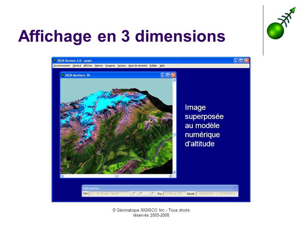© Géomatique SIGISCO Inc - Tous droits réservés 2005-2008 Affichage en 3 dimensions Image superposée au modèle numérique daltitude