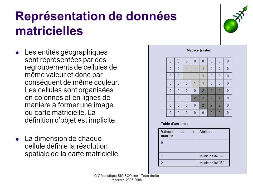 © Géomatique SIGISCO Inc - Tous droits réservés 2005-2008 Représentation de données matricielles Les entités géographiques sont représentées par des r